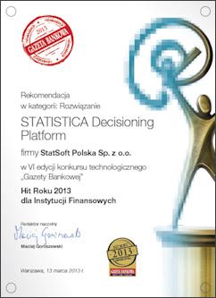 Dyplom STATISTICA Decisioning Platform